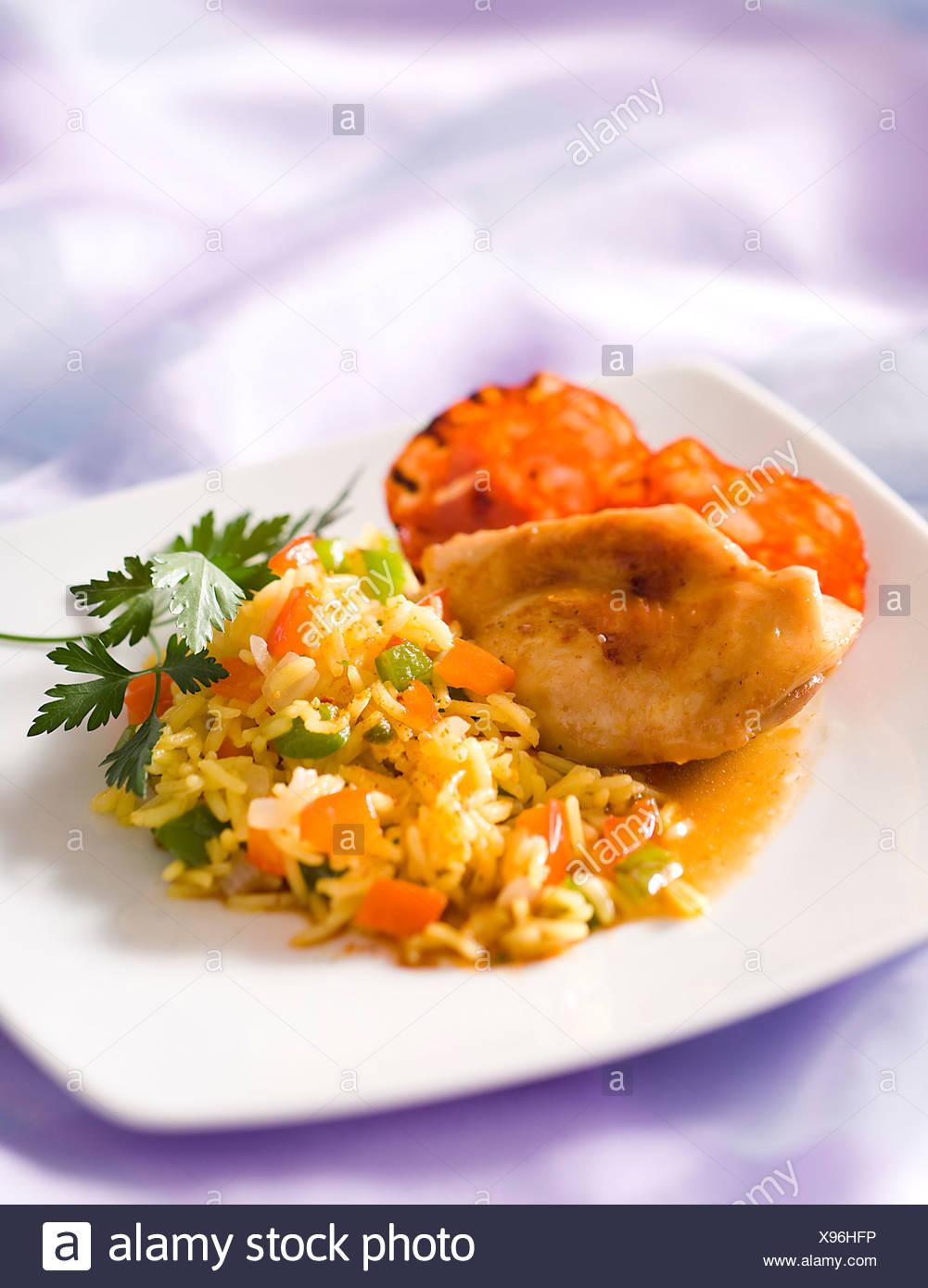 Rabbit in Saffron Sauce - Stock Image