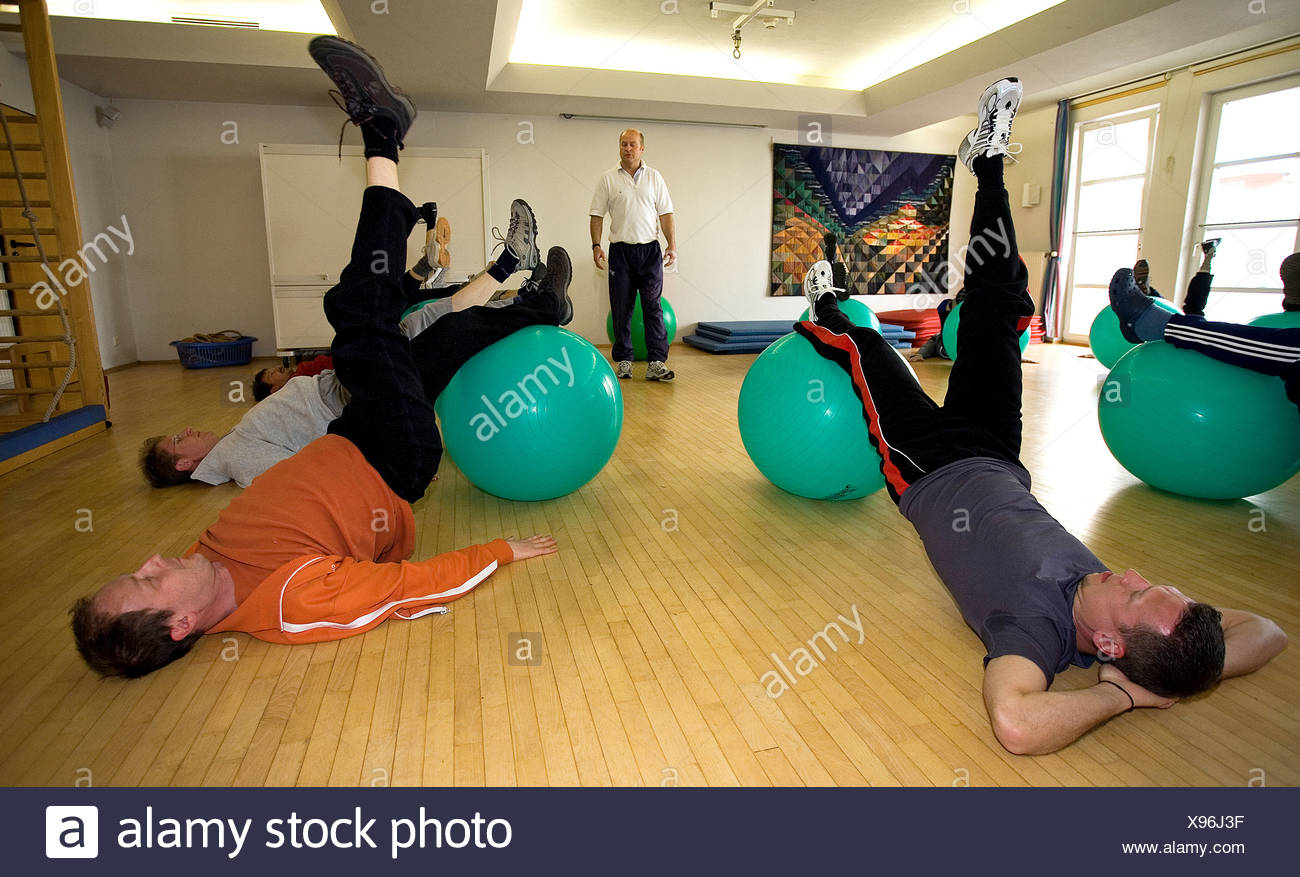 Patients during preventive back pain training, Norderney, Germany - Stock Image