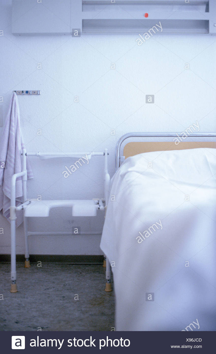 Close-up of hospital bed - Stock Image