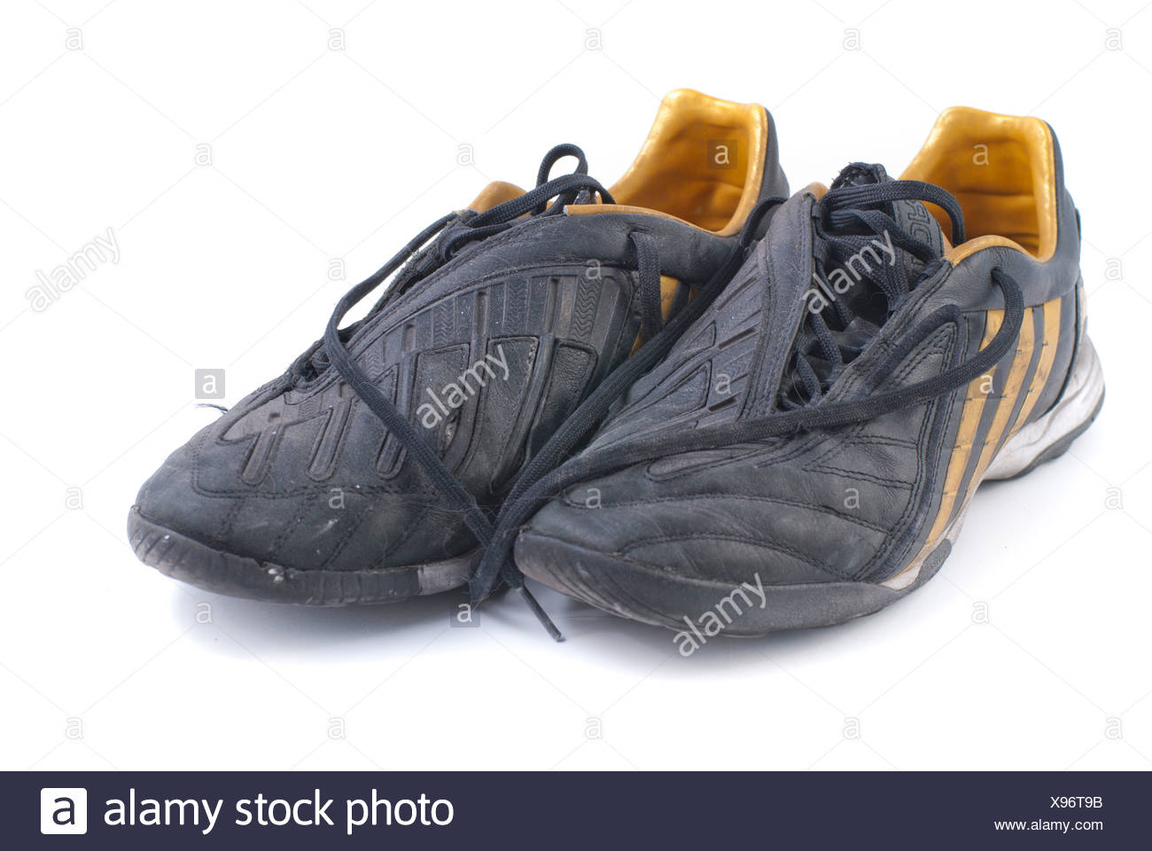 0b668e251 two old black soccer shoes Stock Photo: 281048583 - Alamy