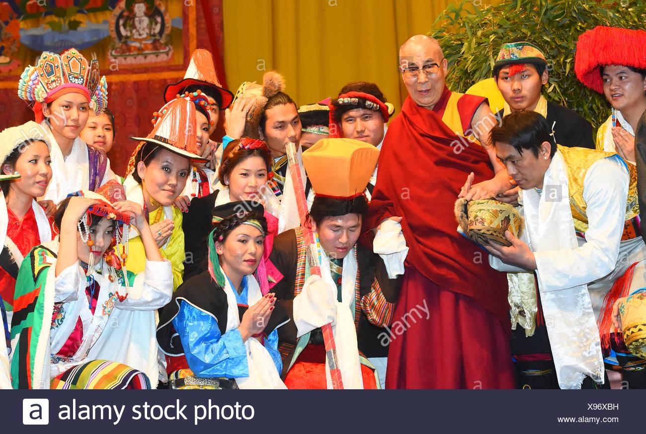Dalai Lama, Buddhism, religion, Tibet, Basel in 2015, believers, - Stock Image