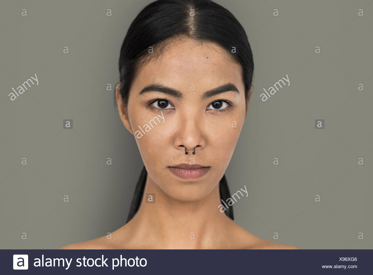 88df2b436f158 Woman Pierced Nose Ring Confidence Self Esteem Portrait - Stock Image