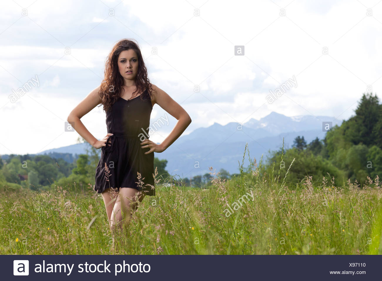 Young woman posing in a short black dress in the long grass - Stock Image