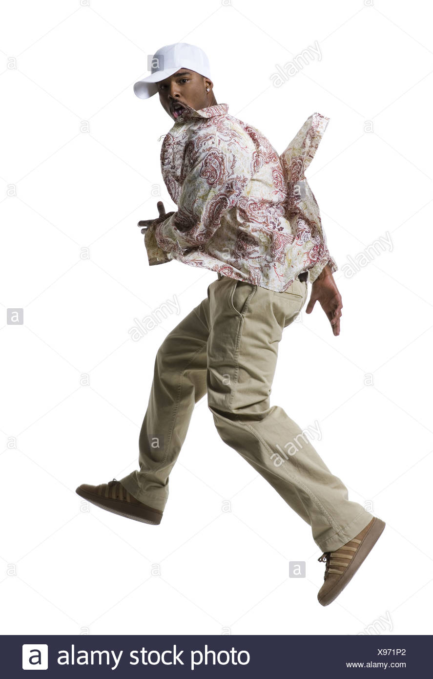 African American man running Stock Photo