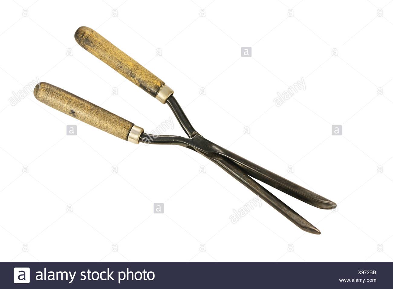 Vintage curling tongs - Stock Image