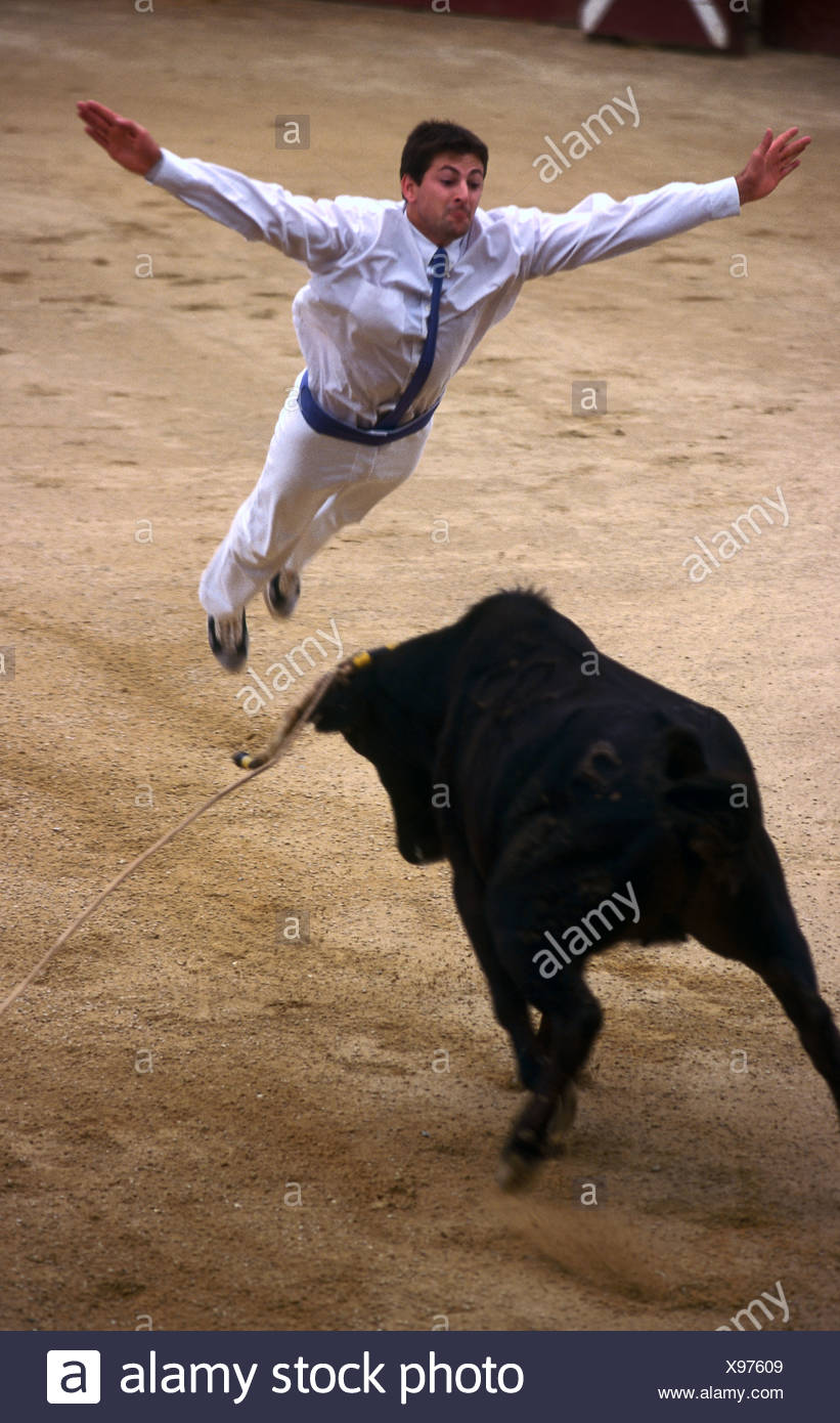 Matador bullfighting in arena Souprosse France Stock Photo
