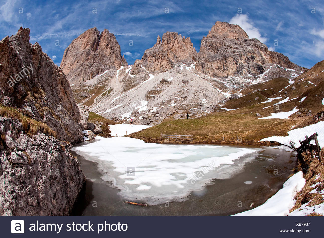 The Langkofel seen from the four-and-a-half-hour, moderately difficult hike around its main summit in the Gardena/Gröden Dolomites, South Tyrol, Trentino Alto Adige Italy Europe Stock Photo