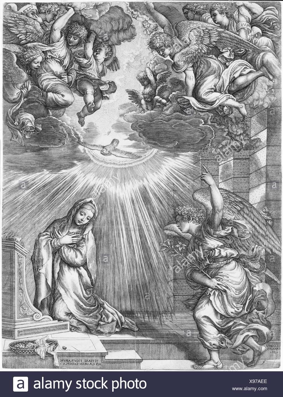 The Annunciation. Artist: Giovanni Jacopo Caraglio (Italian, Parma or Verona ca. 1500/1505-1565 Krakow (?)); Artist: After Titian (Tiziano Vecellio) - Stock Image