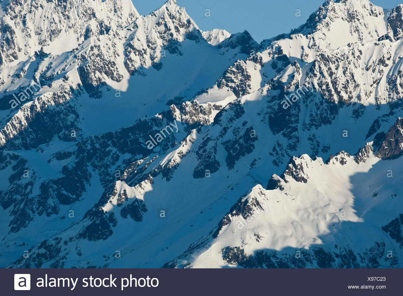 The snowcapped Chugach Mountains in Alaska. - Stock Image
