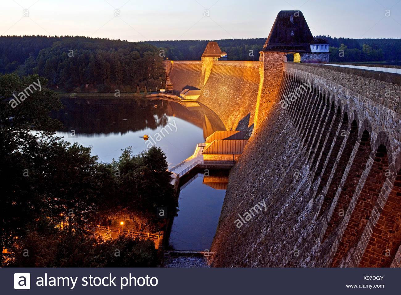 Spotlit dam at dusk, Soest, North Rhine-Westphalia, PublicGround - Stock Image