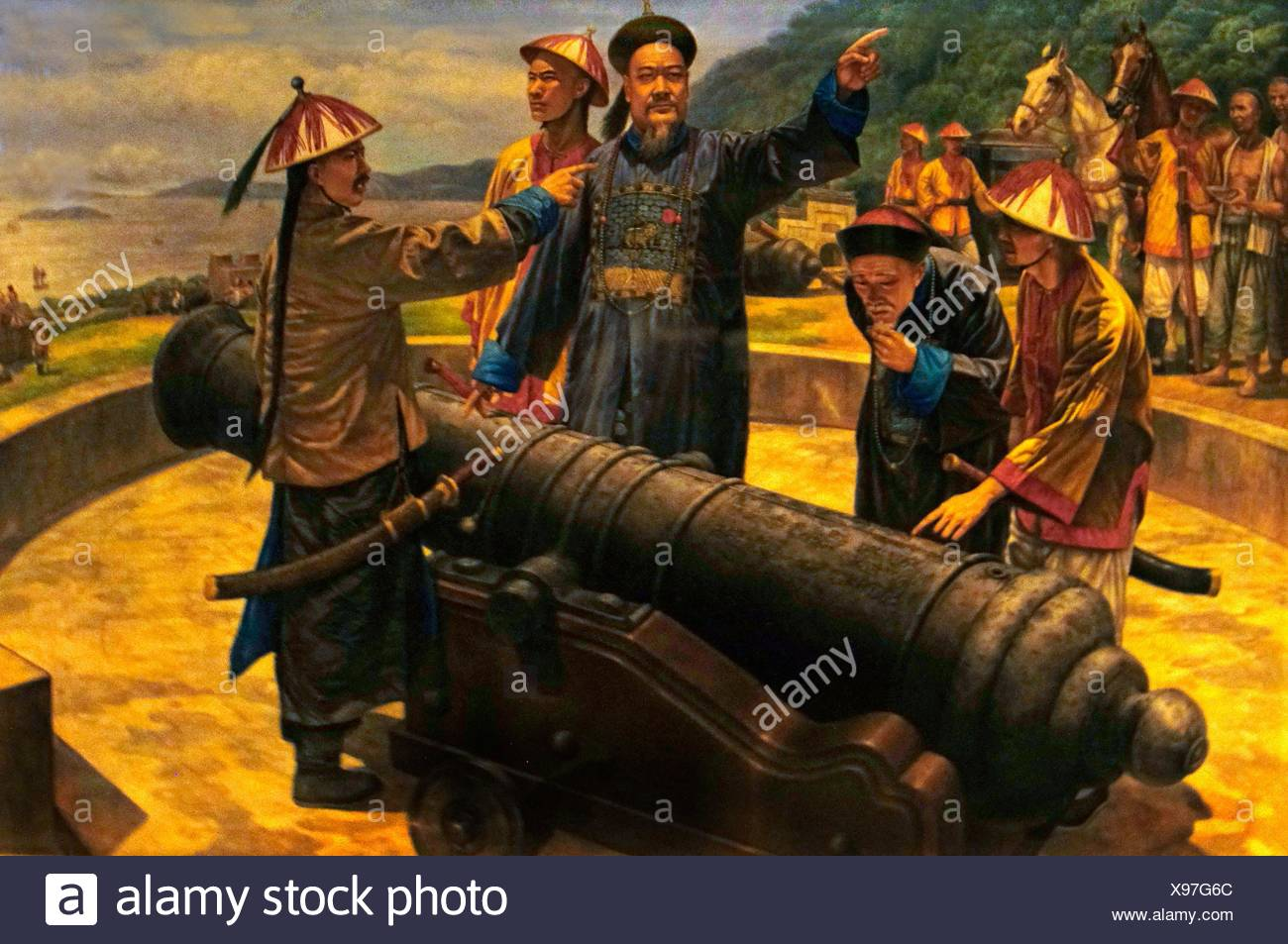 1800s 1840 19th century Asia Bogue Boops boops cannon China coastal color image commander defence Deng drawing firearm general - Stock Image
