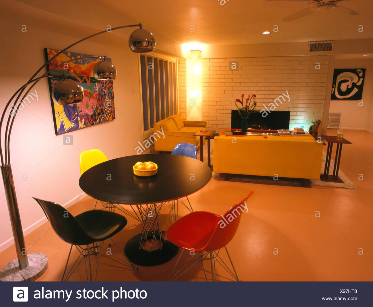 Awe Inspiring Chrome Floor Lamp Beside Circular Table In Modern Studio Download Free Architecture Designs Grimeyleaguecom