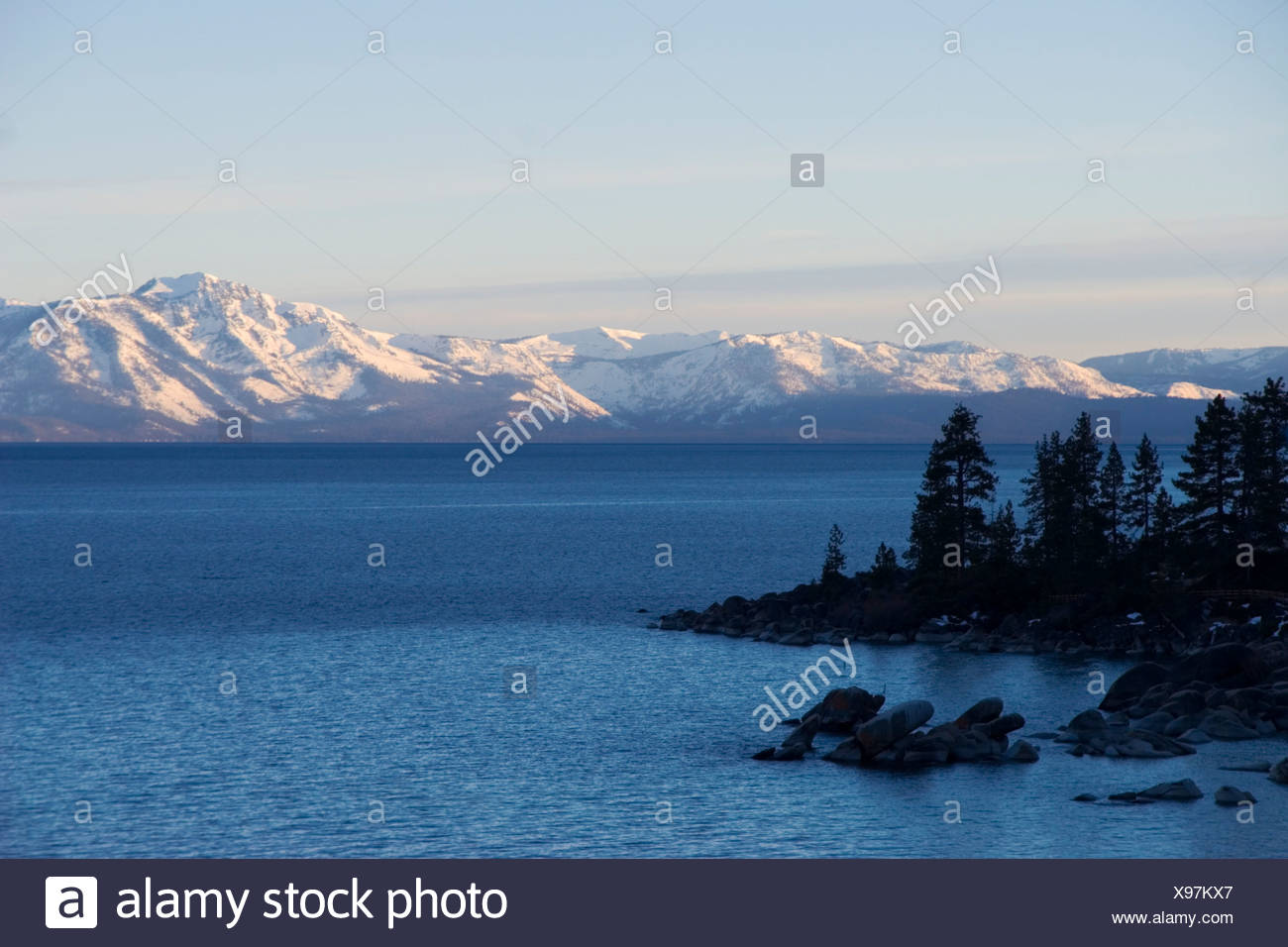 Sunrise on Mt Tallac and Lake Tahoe in winter Stock Photo