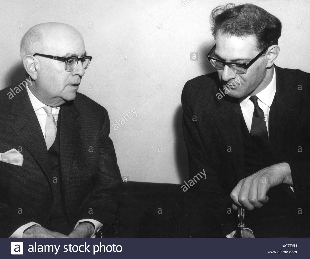 Adorno, Theodor, 11.9.1903 - 6.8.1969, German musicologist, sociologist, philosopher, half length (right), with Maurice Kagel, 1950s, , Additional-Rights-Clearances-NA - Stock Image