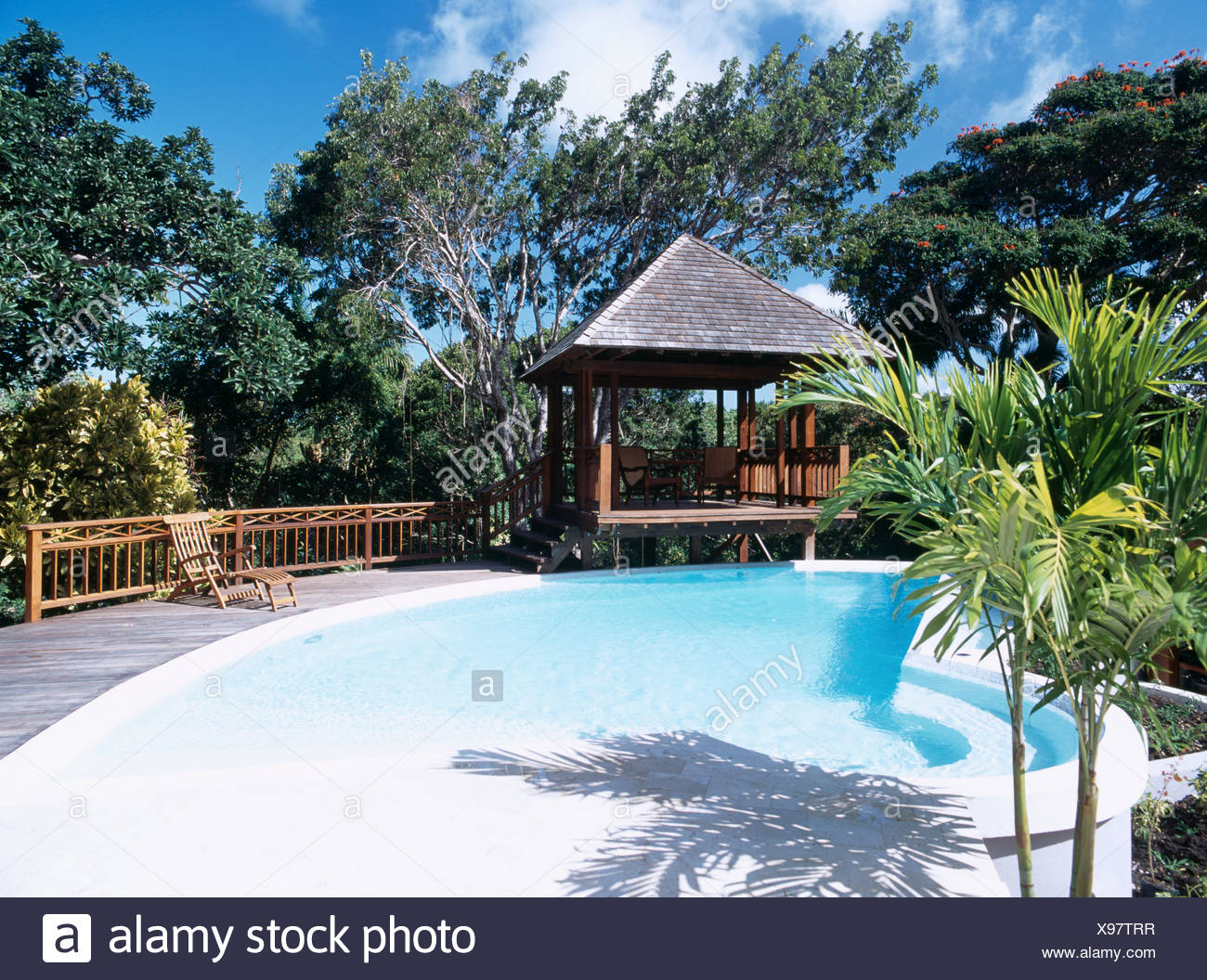 Wooden gazebo beside swimming pool surrounded by trees in ...