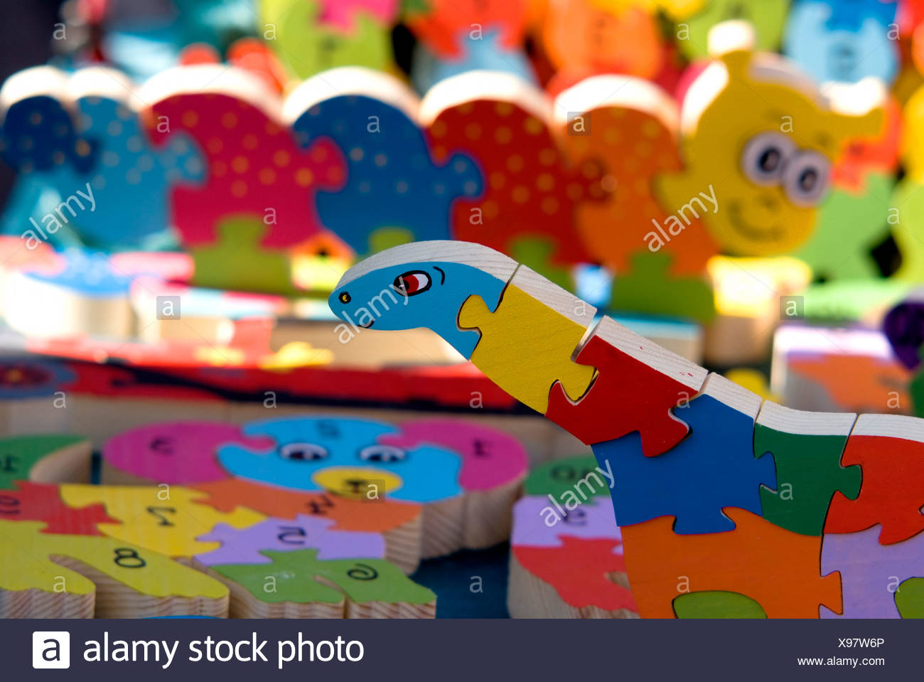 colourful Wooden 3 dimensional puzzles - Stock Image
