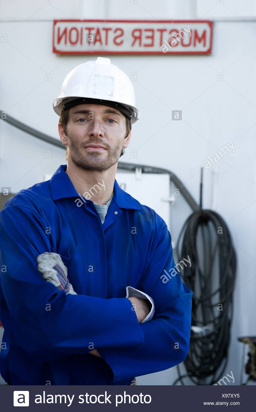 Portrait of a manual worker - Stock Image