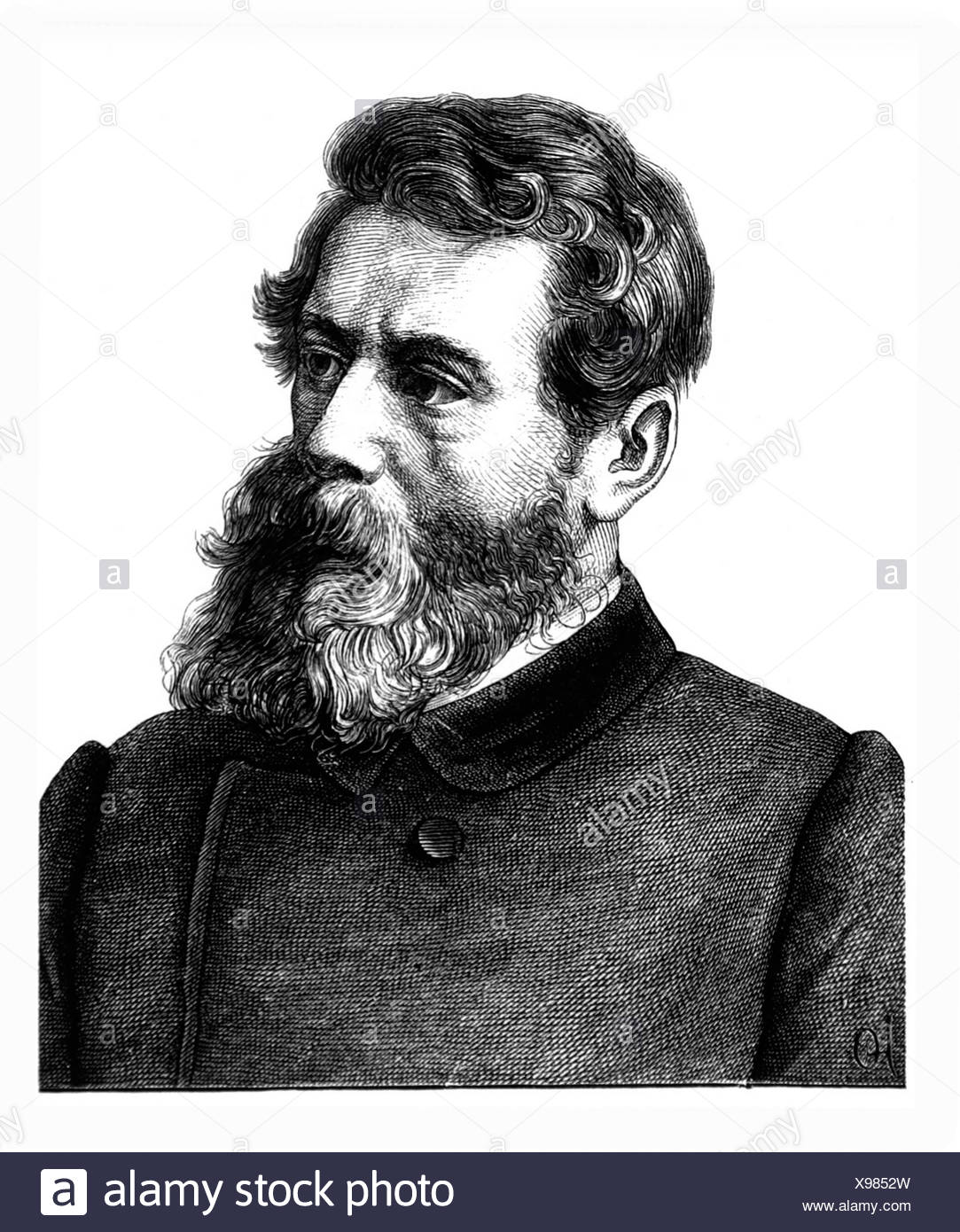 Feuerbach, Ludwig, 28.7.1804 - 13.9.1872, German philosopher, portrait, steel engraving, 19th century, , Artist's Copyright has not to be cleared - Stock Image