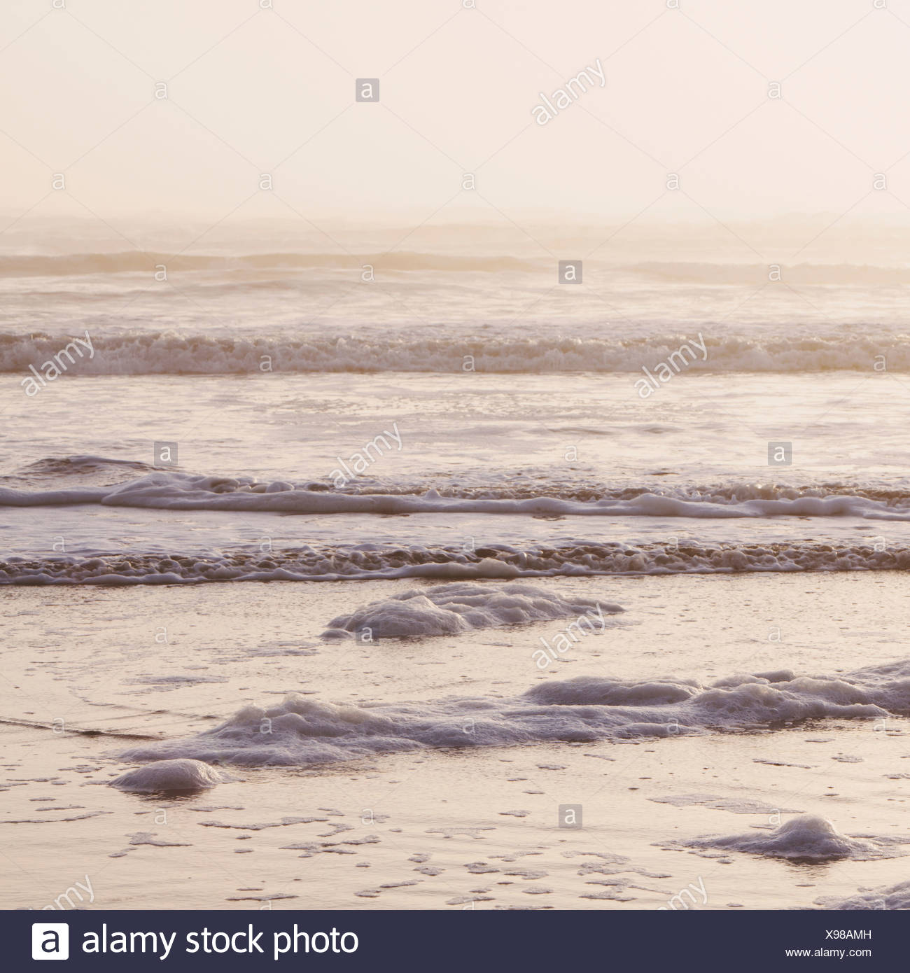 Seascape at dusk Waves breaking on the shore Tidal zone Off the shores of the Olympic National park in Washington USA - Stock Image