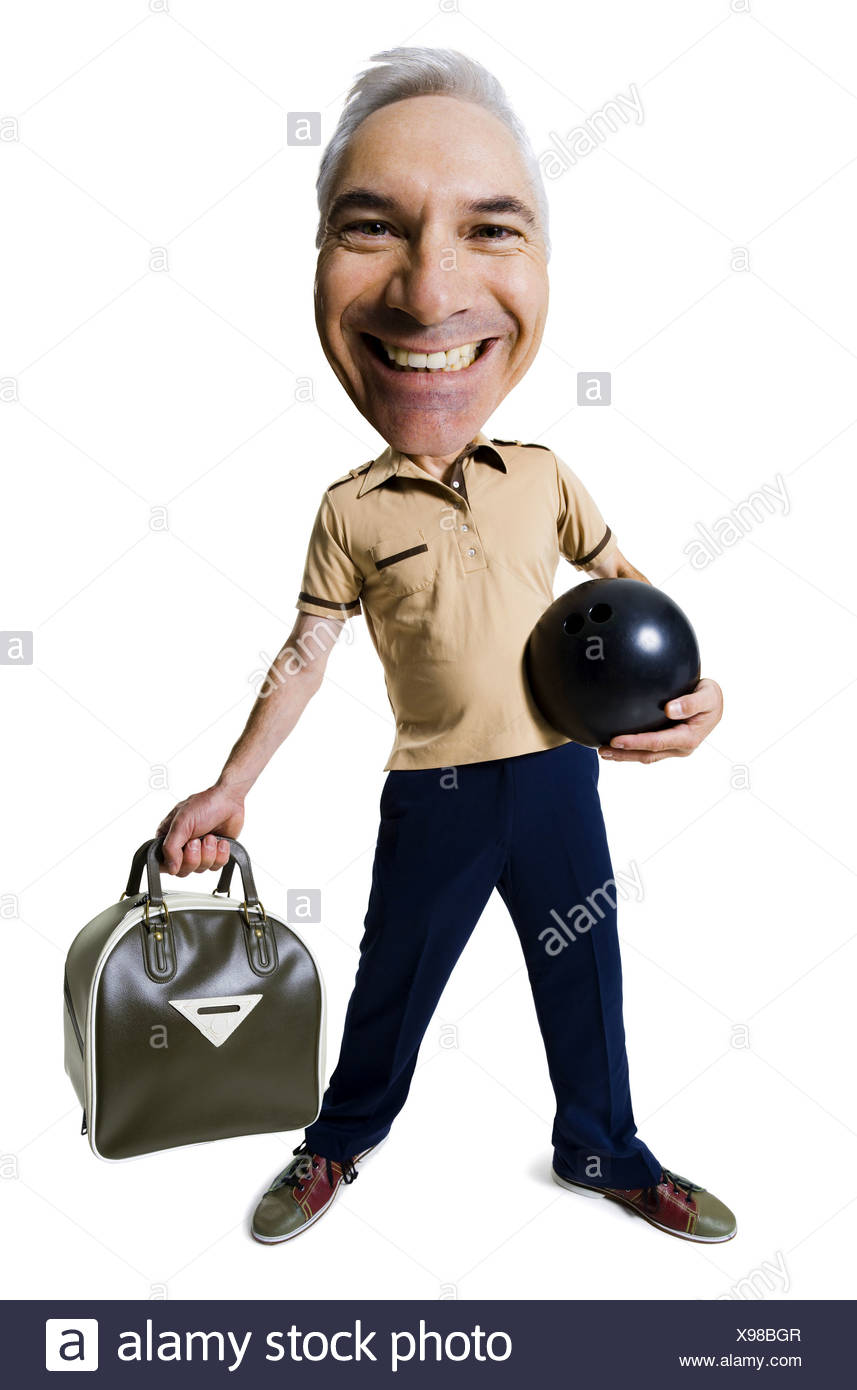 Caricature of male bowler - Stock Image