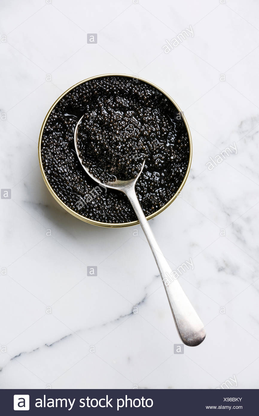 Sturgeon black caviar in can and spoon on white marble background - Stock Image