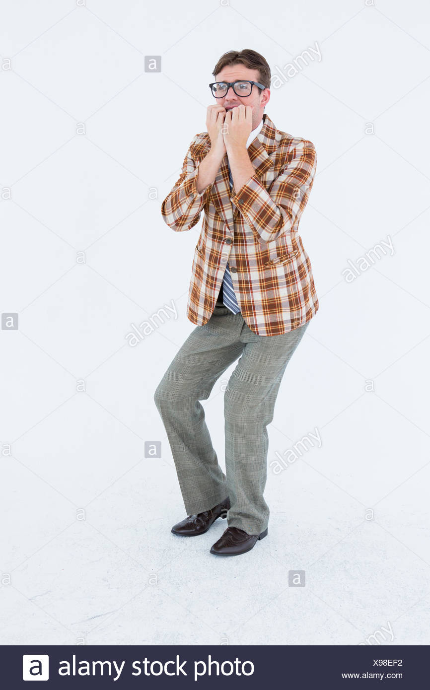 Geeky hipster looking nervous - Stock Image