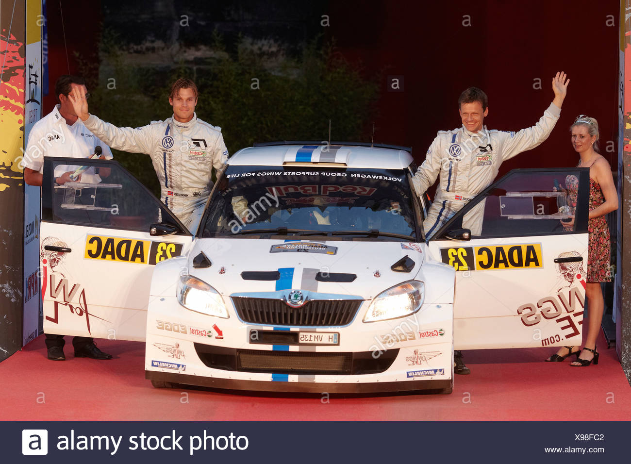Andreas Mikkelsen, right, and Ola Floene starting at the Porta Nigra in a Skoda vehicle to the ADAC Rally Germany, Trier - Stock Image