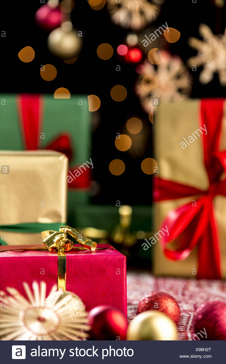 Christmas Gifts, Glitters, Baubles and Stars - Stock Image
