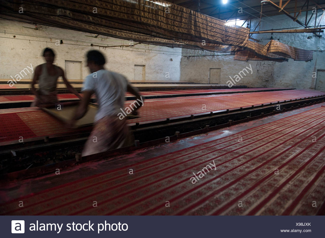 Dyeing of previously printed fabric, Sanganer dyeing centre near Jaipur, Rajasthan, India, Asia - Stock Image