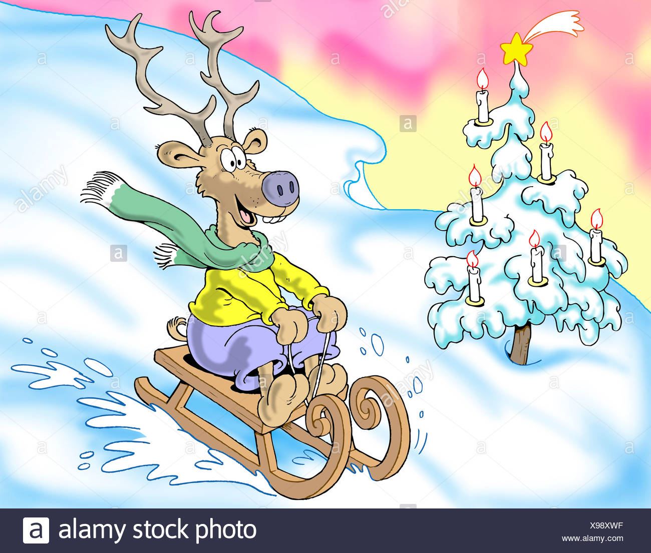 Sledging merry reindeer, illustration - Stock Image