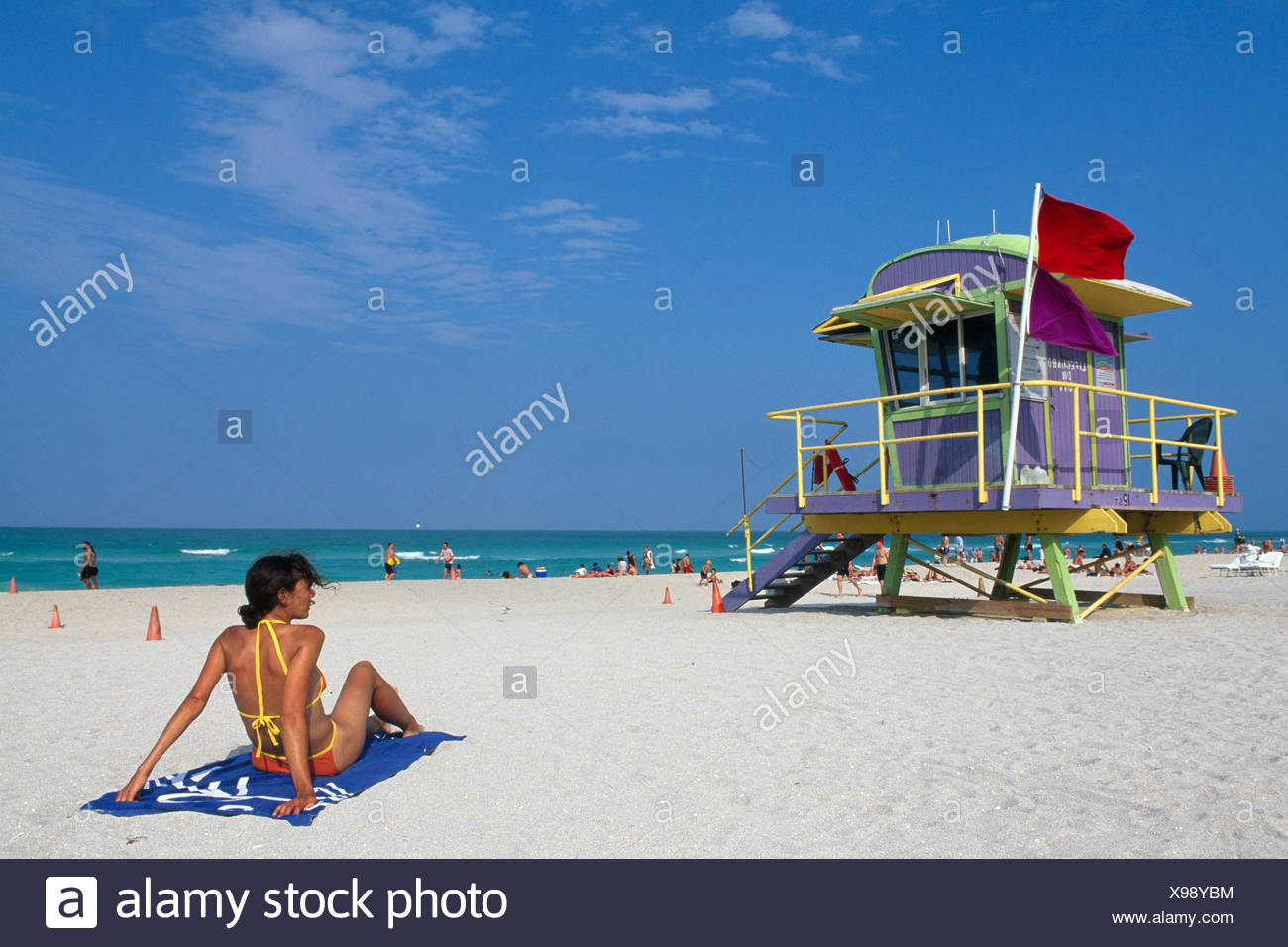 Woman and lifeguard tower at South Beach, Miami Beach, Miami, Florida, USA - Stock Image