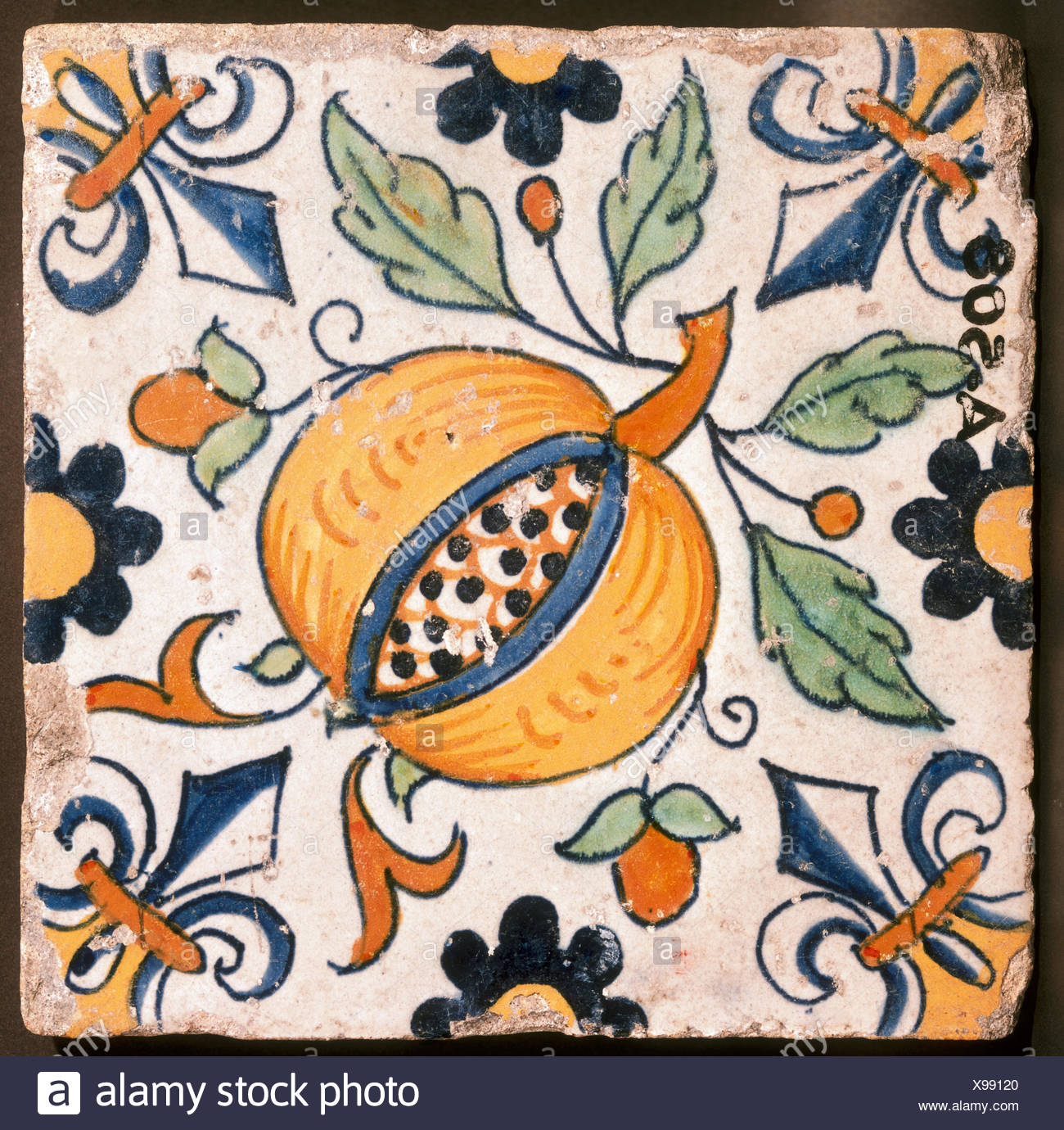 fine arts, decorative tiles, tile, painted, Delft, early 17th century, 13 x 13 cm, Rijksmuseum H.L. van Meerten, Delft, Artist's Copyright has not to be cleared - Stock Image