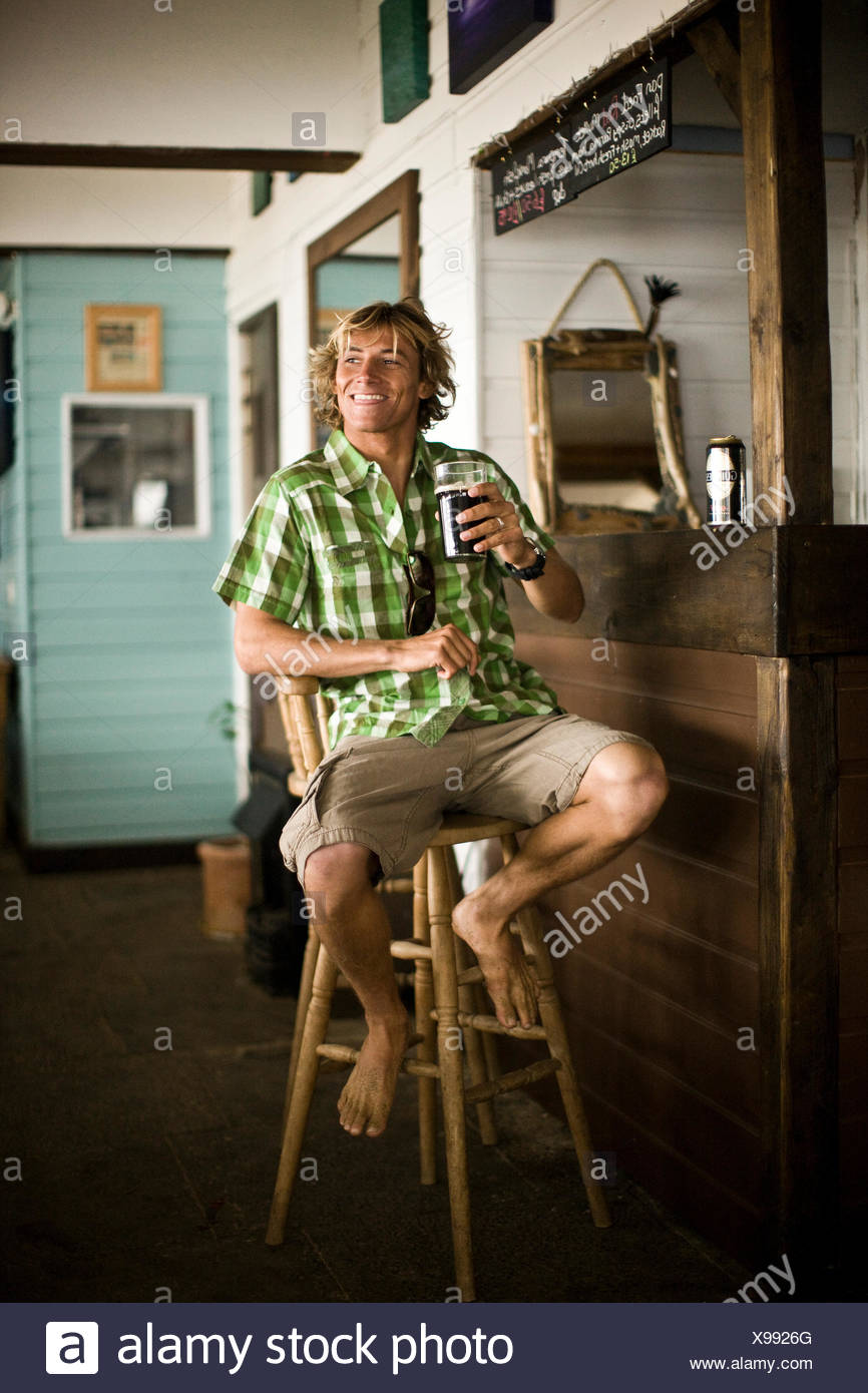 Terrific Surf Dude Sitting At Bar Drink Beer St Agnes Cornwall Uk Gamerscity Chair Design For Home Gamerscityorg