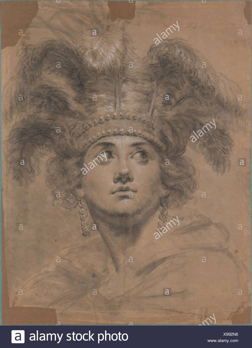 Head of a woman as America. Artist: Antoine Vestier (French, Avallon 1740-1824 Paris); Date: n.d; Medium: Black crayon, heightened with white chalk - Stock Image