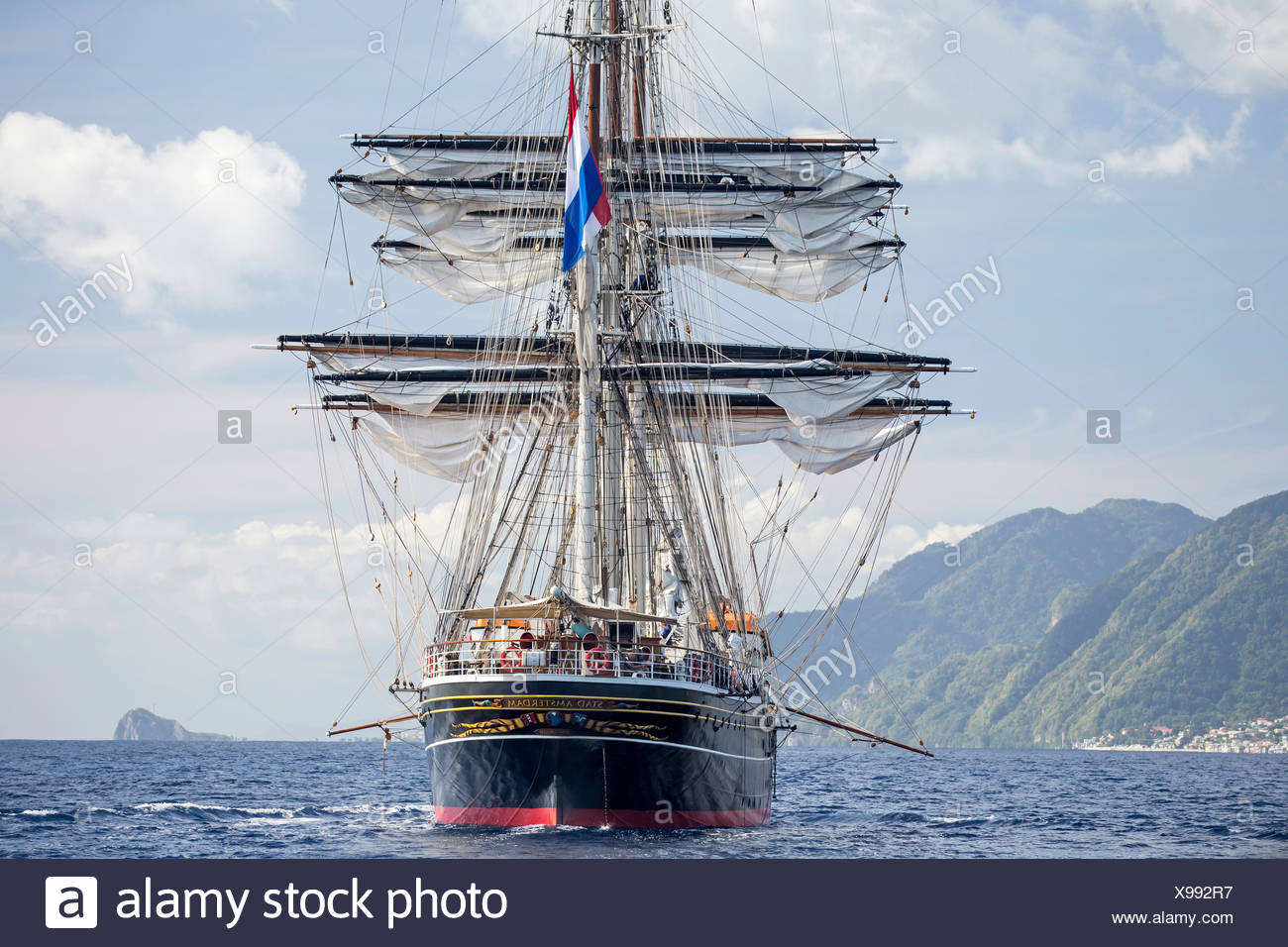 Three-masted clipper cruising ship 'Stad Amsterdam', Dominica, Caribbean Sea, Atlantic Ocean. All non-editorial uses must be cle - Stock Image