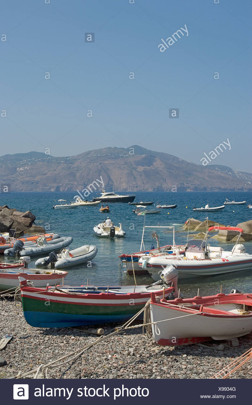 Italy, The Aeolian Islands, Salina, Lingua, view of beach with various boats - Stock Image