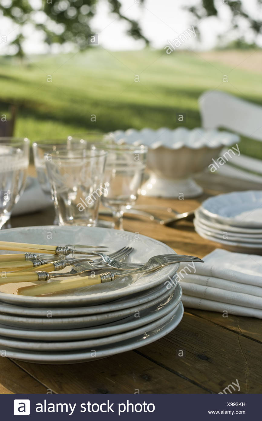 Maryland USA table laid in garden crockery and cutlery Summer - Stock Image