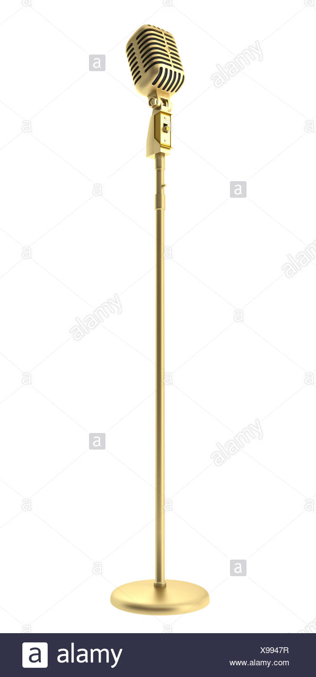 golden vintage microphone isolated on white - Stock Image