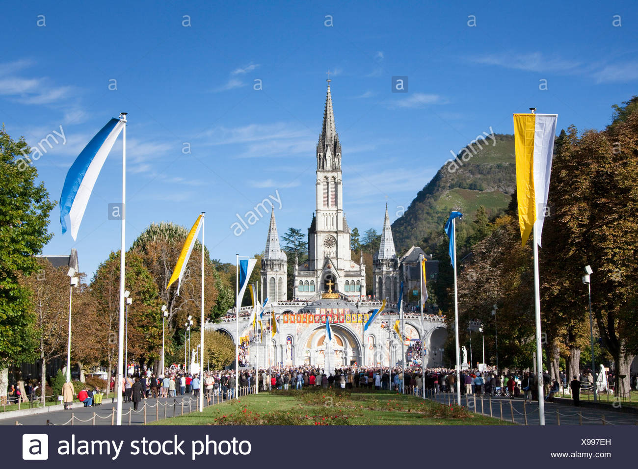 France, Europe, Lourdes, Pyrenees, place of pilgrimage, hope, miracle, church, believers, creditors, religion - Stock Image
