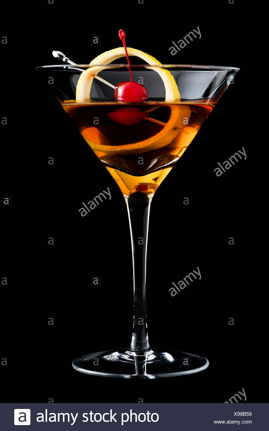 Manhattan Cocktails On Black Background With Garnish Stock Photo Alamy