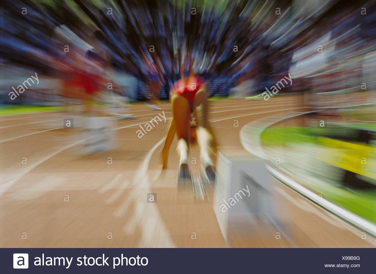 sport short distances run runner start pegs zoom effect running running - Stock Image