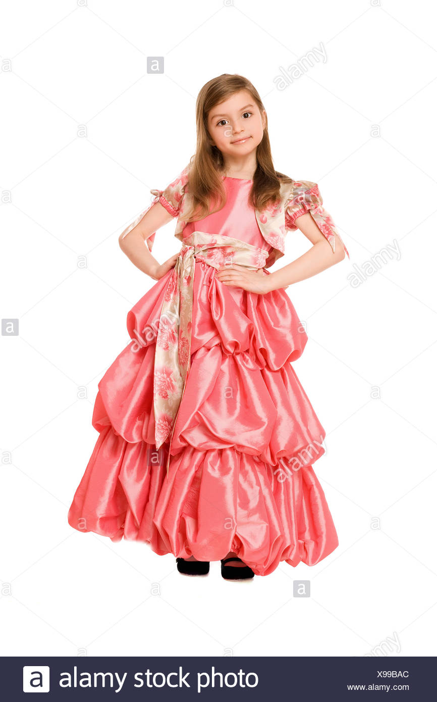 Cute little girl in a long dress - Stock Image