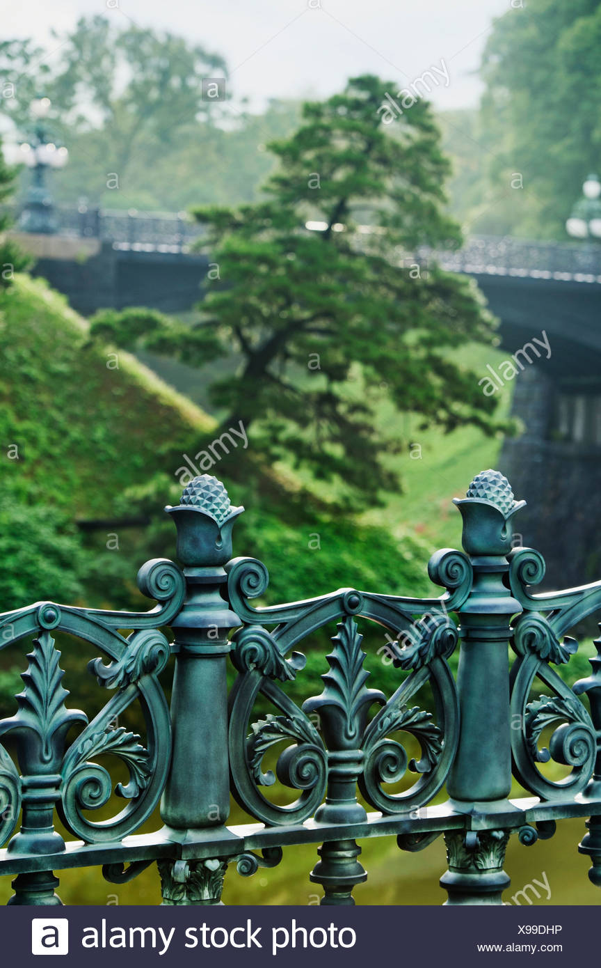 Ornamental Railing At Imperial Palace; Toyko, Japan - Stock Image