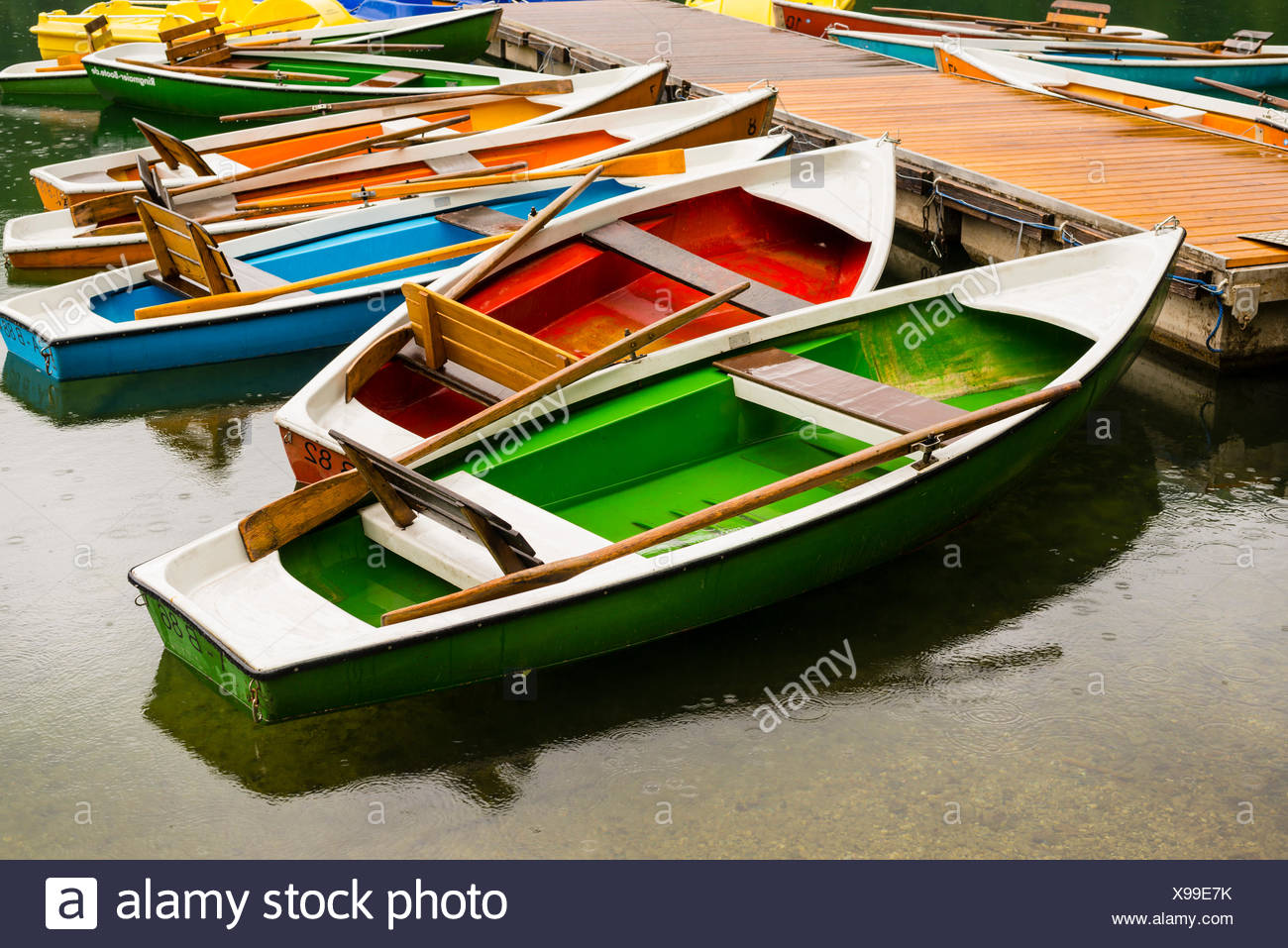 Allgäu, Bavaria, mountain lake, boats, boat rental company, Germany, Europe, Freiberg lake, body of water, Oberstdorf, rain, rai - Stock Image