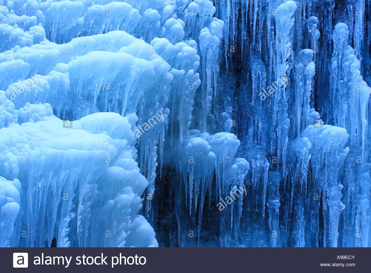 Eiszapfen, Eis, Winter in der Partnachklamm, Garmisch, Deutschland - Stock Image