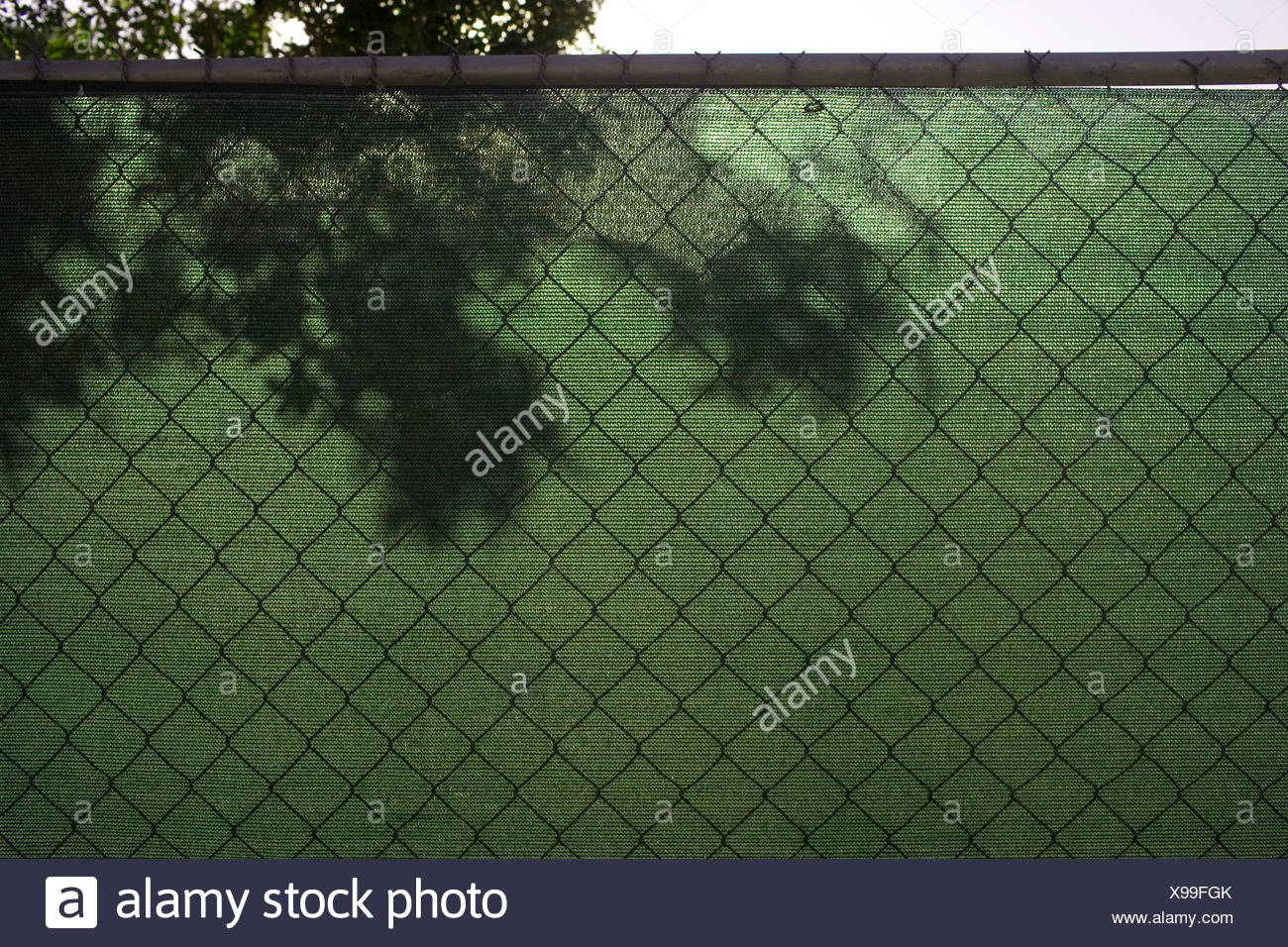 Green screen on wire fence - Stock Image