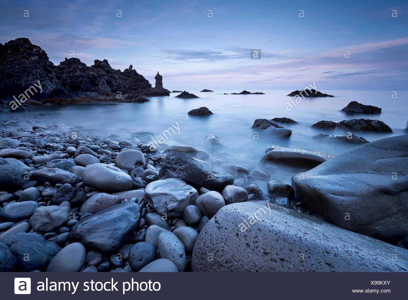 Iceland, Grindavik, surf, coast, blue hour, Stock Photo