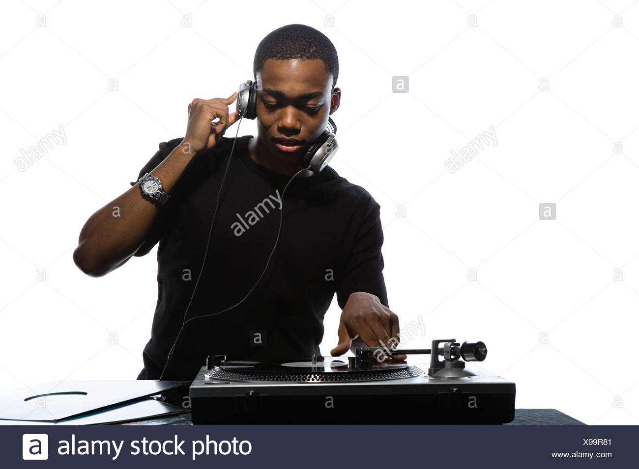 Young man djing - Stock Image