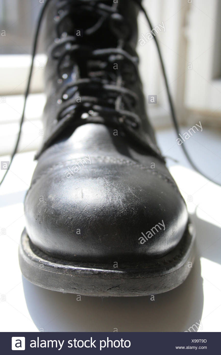 boot shoes sole shoelace ribbons shoe schnrschuh schuhspitze militrstiefel Stock Photo