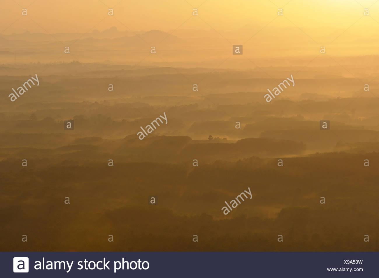 Sunrise, view, Hill  Wat Tham Sua, Krabi, Thailand, Asia, - Stock Image